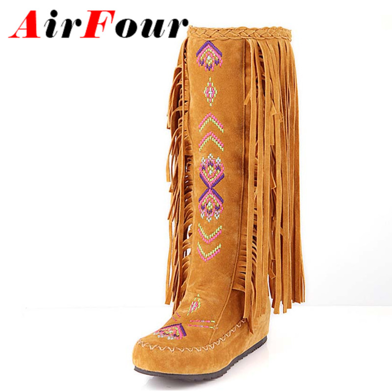 new women motorcycle boots for shoes fashion party Round Toe Tassel Platform boots falts heel shoes winter snow boots size 39<br><br>Aliexpress