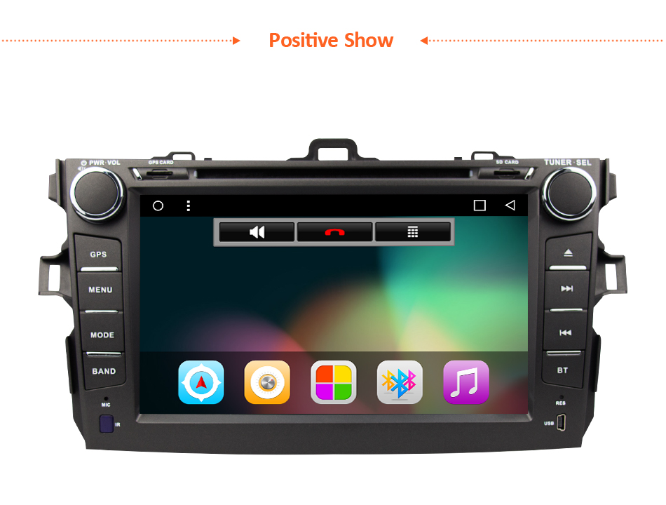 Toyota Corolla Car DVD Player GPS for 2007 – 2012 Android 6.0 8 inch 1024*600 Screen Auto Radio