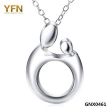 Genuine 925 Sterling Silver Pendant Necklace Mother and Child Love Jewelry Collar Necklace For Women GNX0461