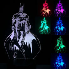 New Cartoon Action Figure 3D Batman LED Night Light Cool Bedroom Decoration Boy Gift Visual illusion Table Child Kids Birthday