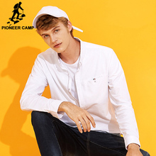 Pioneer Camp new arrival solid casual shirt men brand-clothing long sleeve autumn shirt male quality cotton white grey ACC701226(China)