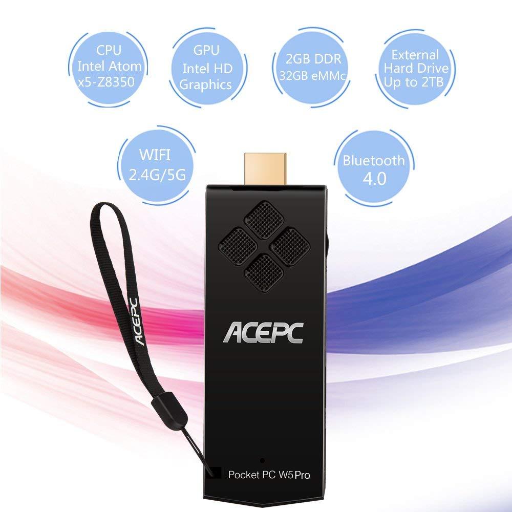 Mini PC Stick computer HDMI ACEPC W5 Pro 2GB DDR3 32GB Windows 10 licenced Intel Atom X5 Z8350 Processor WiFi/4K/Bluetooth 4.0