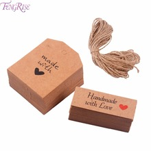 Buy FENGRISE 100pcs Hand Made Love Labels Kraft Paper Tags Cake Decorating Gift Wrapping Supplies Wedding Decor Party Favors for $2.32 in AliExpress store