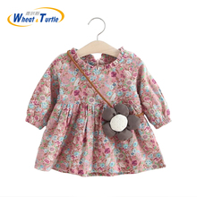 Baby Girl Dress 2017 New Casual Spring Autumn Long Sleeve Floral Cotton Kids Children girl clothes - Wheat&TurtleBrand Store store
