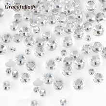 Luxury Crystal Clear ss3-ss40 Glass Nail Art Rhinestones For Nail Art Charms 3D Decoration Non hotfix Flat Back Stones(China)
