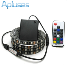 Battery LED Strip 5050 RGB 5V Black PCB Tape Lighting DIY Home Decorative Lamp With Battery Box + 17Key RF Controller(China)