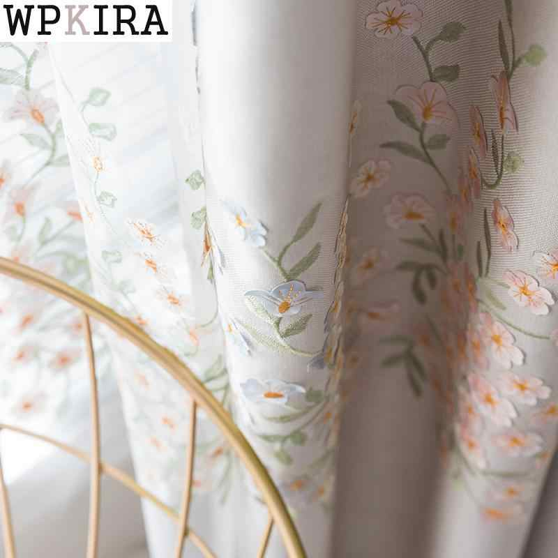 3D Embroidery Flower Curtains Tulle Blue Garden Cotton Linen Curtain for Living Room Bedroom Window Shade Curtain Gauze S143&30