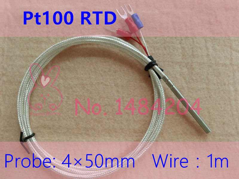 1x Waterproof Pt100 Temperature Sensor 4mm*50mm  Platinum Resistance RTD Probe 1m 3-Core Silver Jacketed High Temperature Wire