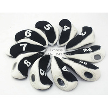 Wholesale 10pcs/set Black and white Neoprene Golf Head Cover Club Iron Putter Head Protector Golf Clubs, OEM Samll order