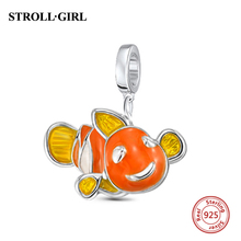 Fit Pandora Charm Bracelet 925 Original Jewelry New Arrival 925 Sterling Silver Clown Orange Enamel Charms Beads  Christmas Gift