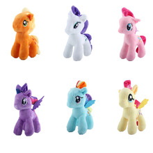 Elsadou 25cm cartoon kids TV Rainbow little horse Plush toy poni Unicorn doll toys for Children soft dolls Toy Horse(China)