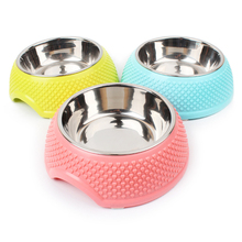 New Arrival Stainless Steel Anti-skid Pet Dog Cat Food Water Bowl Pet Feeding Bowls Dish Plastic Heart Printed(China)