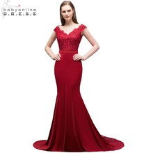 Babyonline 2018 Elegant Mermaid Burgundy Lace Evening Dresses Long Formal Party Dresses Prom Evening Gown robe de soiree(China)