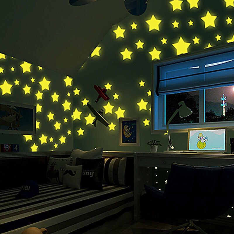 HTB1SufCiv6H8KJjSspmq6z2WXXa0 - % 100 pcs/lot 3D stars glow in the dark Luminous on Wall Stickers for Kids Room living room Wall Decal Home Decoration poster