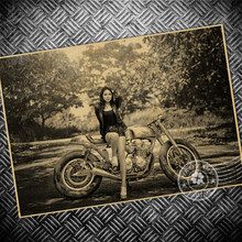 Nostalgia Sexy lady motorcycle retro Kraft Paper Poster vintage Wall antique sticker Home decor Painting 42x30cm UCO 111(China)