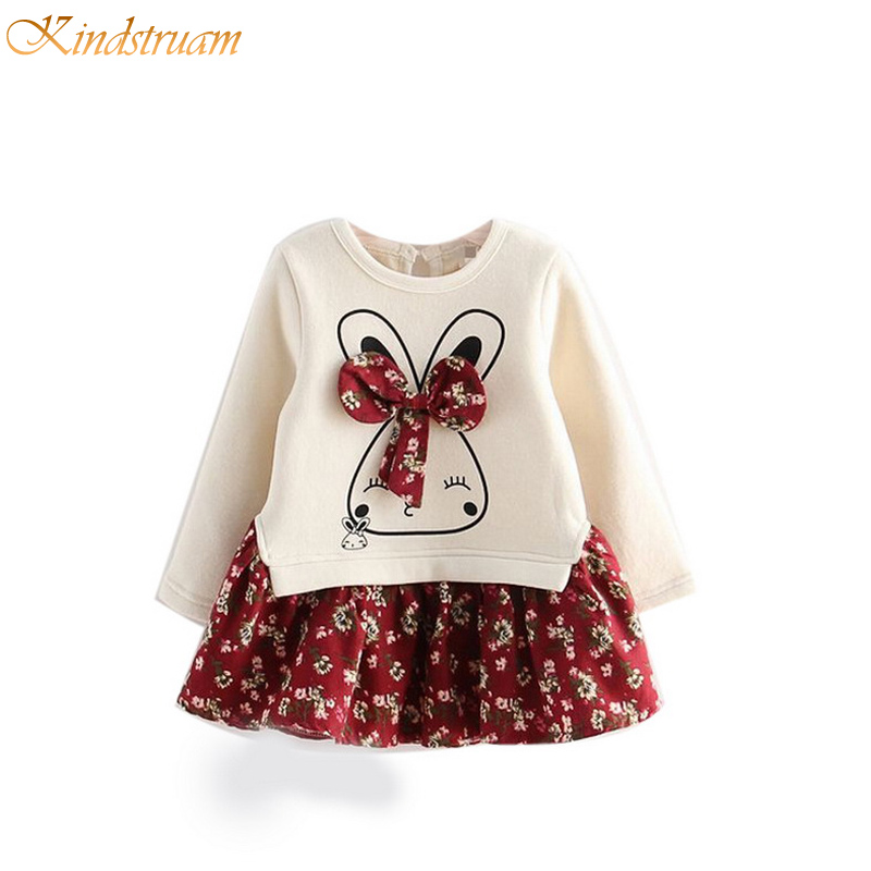 2017 New Arrival Girls Sping &amp; Autumn Patchwork Floral Dresses Child Cartoon Print Dresses Baby Girls Dress with Bow , LC771<br><br>Aliexpress