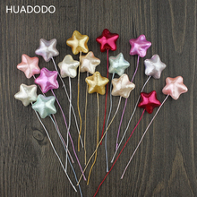HUADODO 10pcs Foam star Stamens Artificial Flower for Scrapbook Christmas party Wedding Decoration flowers(China)