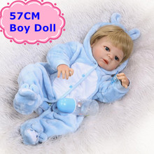 57cm NPK Bebe Reborn Dolls Realistic Full Silicone Baby Boy Doll In Cute Soft Plush Clothes Alive Baby Dolls As Girls Playmate(China)