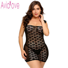 Avidlove Plus Size Lingerie Sexy Hot Erotic Nighty Baby Doll Nightdress Women Floral Lace Night Gown Sex Exotic Clothing XXXL(China)