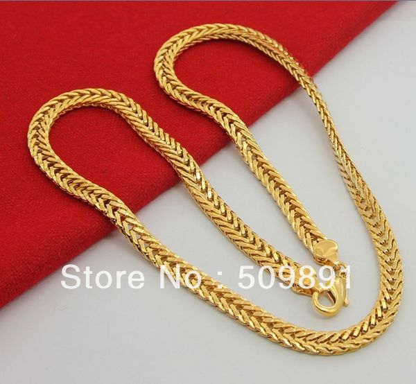 Nec1546 Retail Whole Fashion Jewelry 5 8mm Thick Gold Chains Necklace Men 24k Vacuum