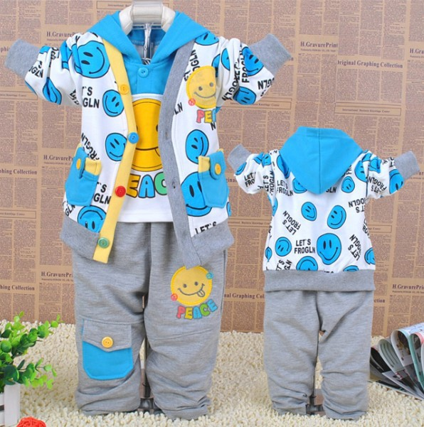 Lovely cartoon face smiling baby boys sets boy clothing suits autumn 3 pcs coat + hooded T-shirt + pants<br><br>Aliexpress