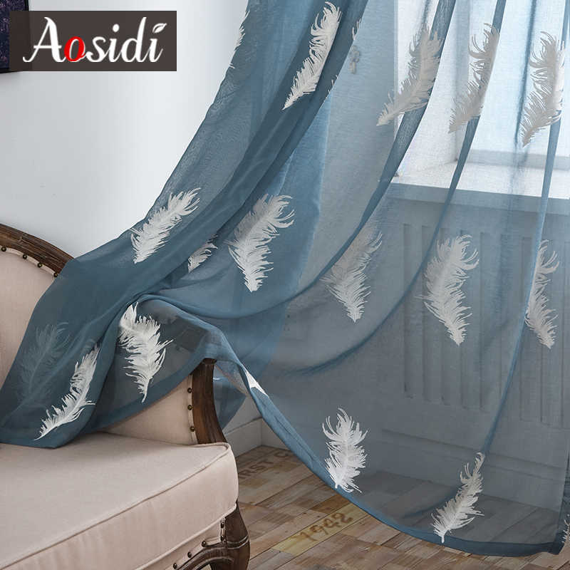 White feather embroidered window tulle curtains for living room bedroom Modern blue sheer curtains Embroidery voile curtains 3D