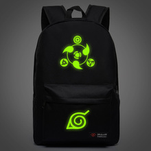 Naruto Luminous Backpacks for teenagers Leisure school bags Candy Color Unisex Mochila