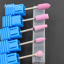 ASWEINA 1pcs Pink Colors Ceramic Stone Nail Drill Bits Nail Art Tools Electric Manicure Machine Accessories Cutter Nail Files(China)