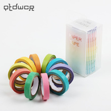 10PCS Rainbow Roll DIY Washi Sticky Paper Tape Masking Tape Self Adhesive Tape Scrapbooking Decorative Scrapbook Tape Gift