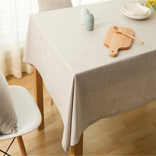 1 Pcs Pastorale Style Linen Cotton Solid Color Christmas Rectangle Tablecloth Nappe Table Cover Table Cloth Home Decor