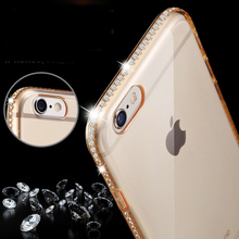 Transparent Ultra Thin Crystal Diamond Soft Back Case Cover Bag For Apple iPhone 7 7plus 5 5s SE 6 s 6s Plus Mobile Accessories