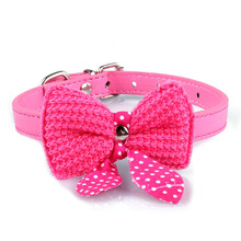 Knit Bowknot Adjustable PU Leather Dog Puppy Pet Collars Necklace Hot Pink Leash Harness Necklace Rope Tie Collar Lead