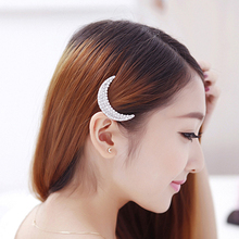1 Pair Women Hair Accessory Elegant Crystal Rhinestone Moon Hair Clip Clear Hair Pin For Girls Headwear Beauty Circle Hairpin