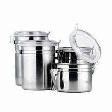 1pc Stainless Steel Coffee Tea Sugar Seal Pot Metal Dry Food Canister Kitchen Container Boxes Premium Storage Jar(China)