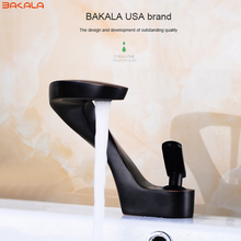 BAKALA modern washbasin design ORB/Nickel brushed Bathroom faucet mixer waterfall Hot and Cold Water taps for basin of bathroom(China)