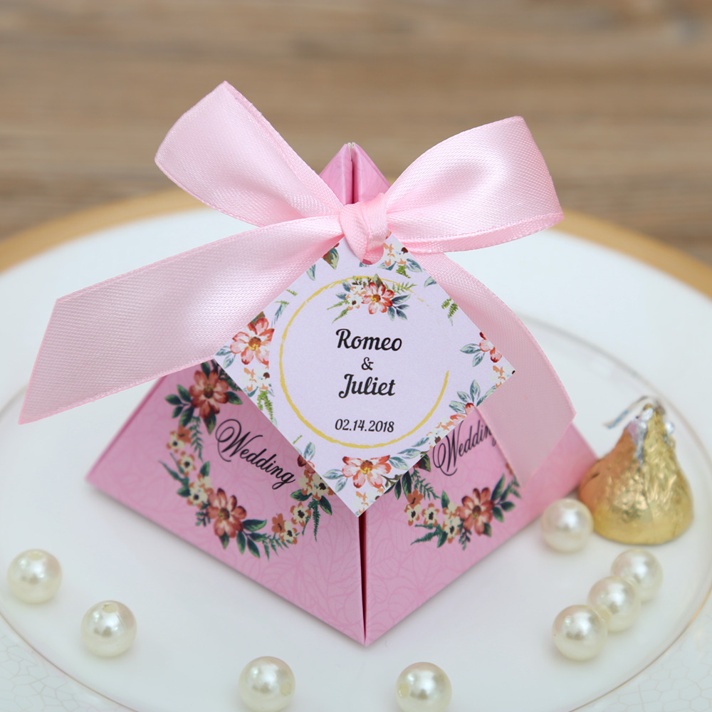 50 pcs/lot Pink/ Purple/ Tiffany Blue Floral Pyramid Wedding Favor ...