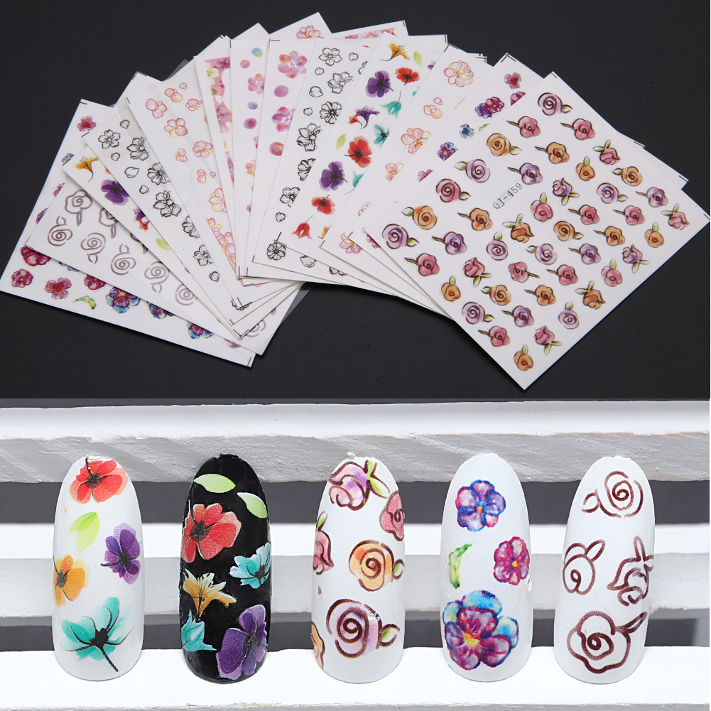 15 Sheets 9 Style Nail Sticker Water Decal Floral Mixed Pattern Manicure Nail Art Transfer Nail Art DIY Temporary Tattoos Sticke<br><br>Aliexpress