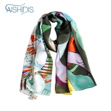 Long Genuine Silk Wrap Shawl Scarf Drape Softness Cool Feeling Summer Style Long Towel Office Lady Gift(China)