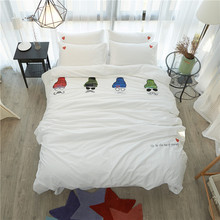 Fashion Embroidery Bedding Set Queen King Quilt Cover Solid Color White Blue Pink Green Purple Bed Sheets Pure Cotton Textile