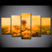 5 Pcs Framed HD Printed Explo Death Of Mushroom Cloud Canvas Painting Wall Art Prints Home Decor For Linving Framed Art Picture