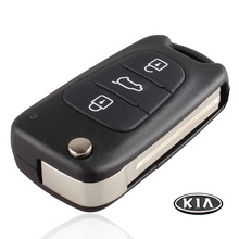Uncut Blade 3 Buttons Flip Remote Key Shell For Kia K2 K5 HYUNDAI KIA Car Keys Blank Case Cover With Kia LOGO