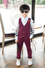 Buy 2017 New Boys Clothing Sets Autumn & Spring Vest + Pants 2PCs Boys Wedding Kids Clothes Gentleman Leisure Children Suits 2bs001 for $14.18 in AliExpress store