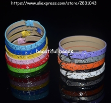 Wholesale 10pcs DIY Accessories fit 8mm slide charms Stone PU Leather Stone Wristband mix color 8mm wide 210mm length