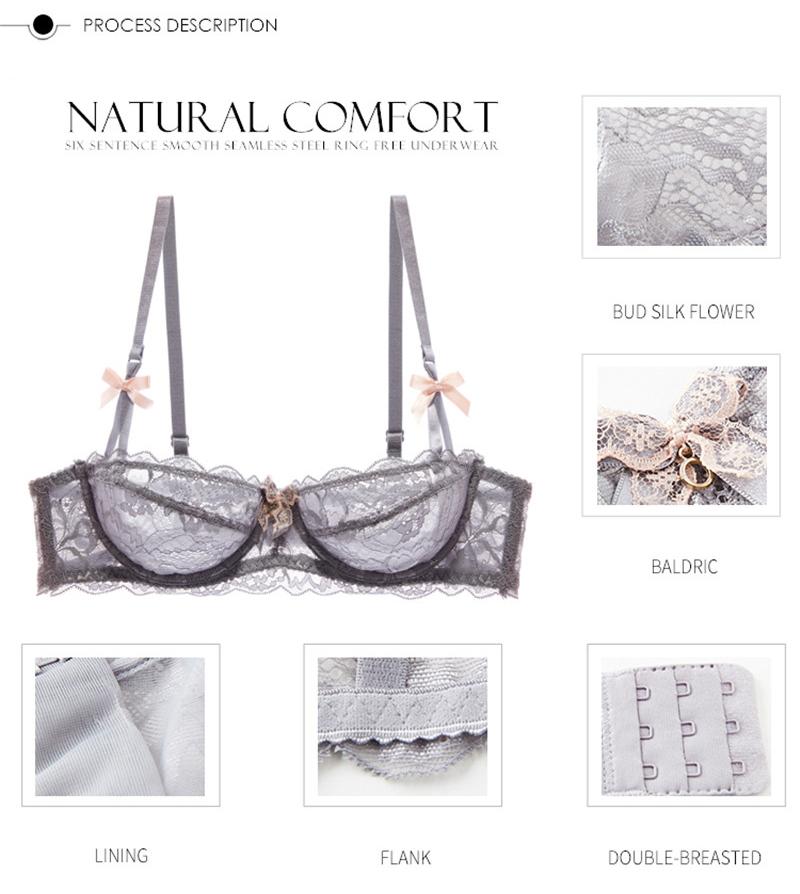 Hot Sexy Bra Set Plus Size 36 38 40 Ultrathin Underwear Women Set White Lace Bra Embroidery Transparent Lingerie Brand Brassiere 4