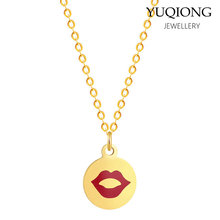 Temperament red lips necklace 361 stainless steel pendant(China)