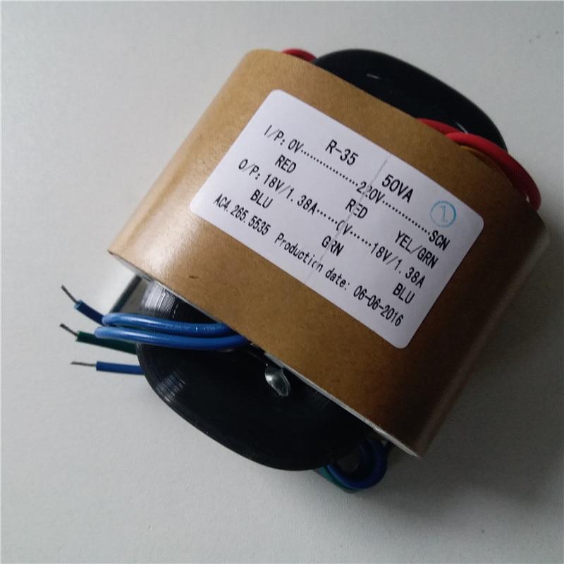 R Core Transformer custom transformer 220VAC 50VA 18V-0-18VAC 1.38A with copper shield output for Power amplifier <br>