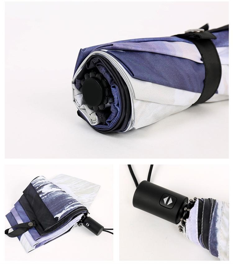 Hand Painted Printing Creative Fully Automatic Umbrella Men Women Folding Sunny And Rainy Parasol Super Strong Anti UV