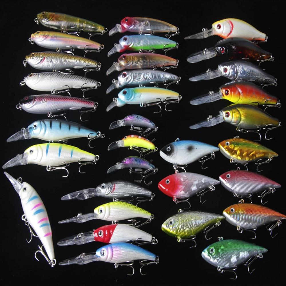 Lot 32 pcs Kinds of Fishing Lures Crankbaits Hooks Minnow Baits Tackle Bass Fresh Salt water Hard Fishing Baits Top Water Lure<br><br>Aliexpress