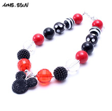 MSH.SUN 2pcs New design Kids bubblegum beads Neckalce Lovely Mikey Pendant necklace for Girls party favor DIY jewelry 2017 BN072