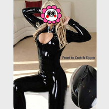 Buy Abbille New Fashion Sexy Lady Black Leather Latex Catsuit Jumpsuit Fancy Two way Zipper Open Crotch Bodysuit Sexy Costumes 2017
